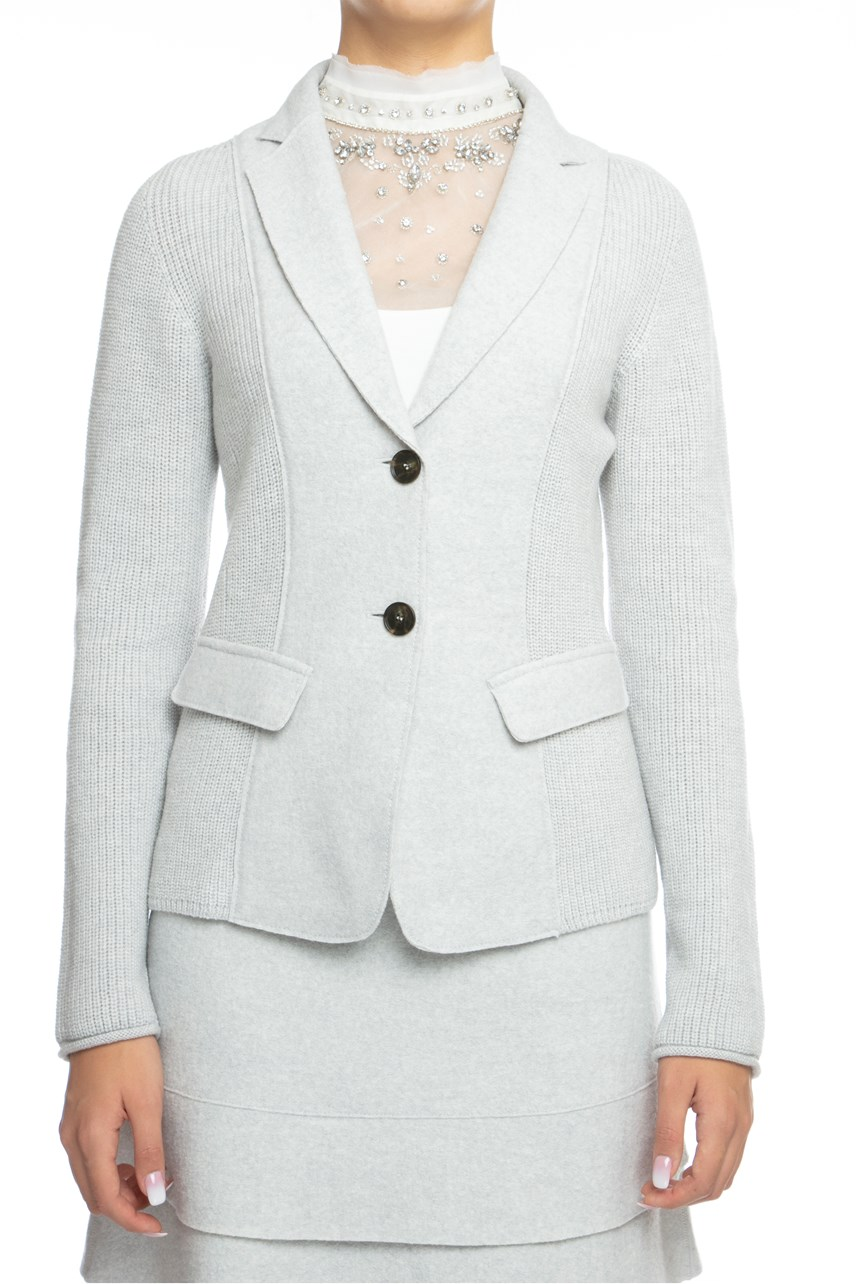 Wool Knit Single Breasted Blazer
