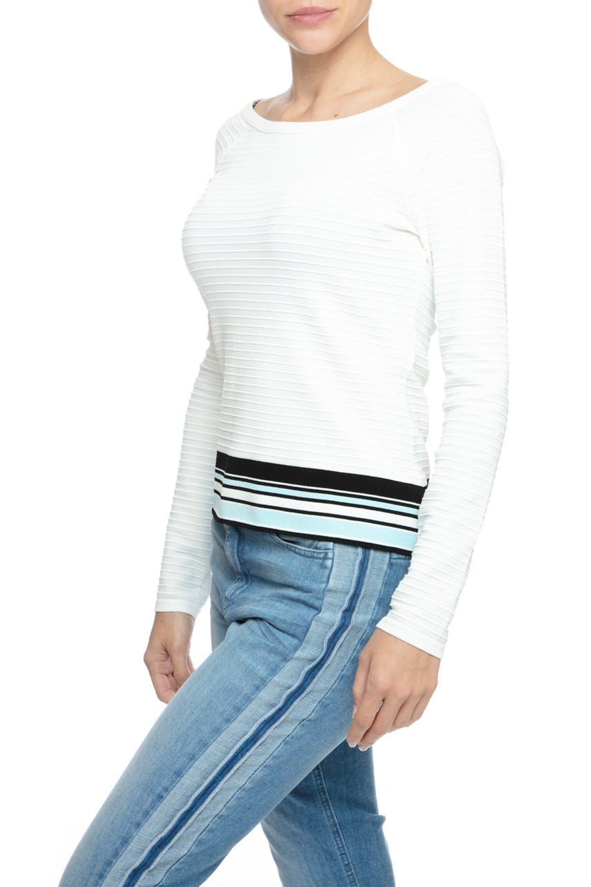 Ribbed Sweater With Stripe Band