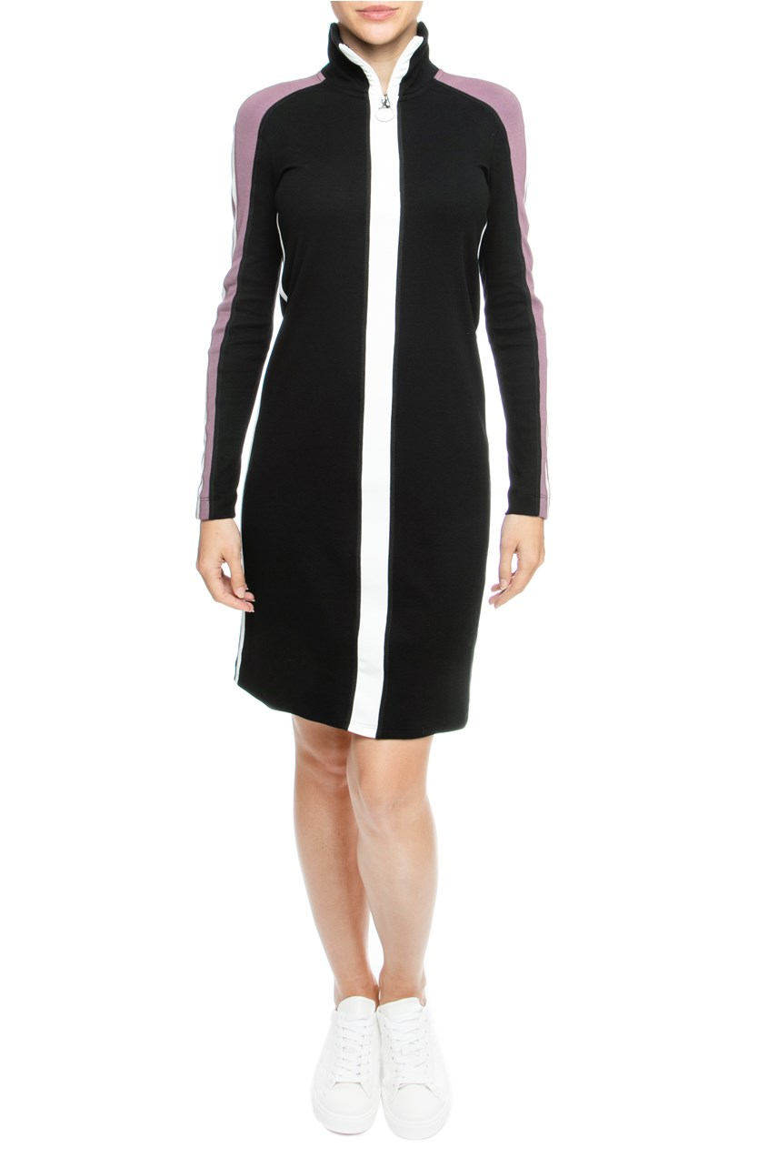 Sporty Zip Up Funnel Neck Dress