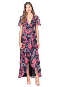 Floral Wrap Dress NAVY 1