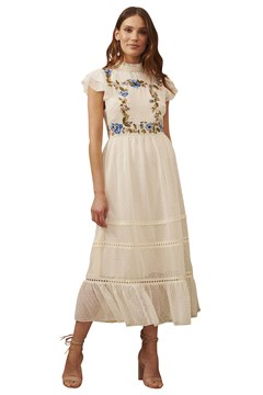 Embroidered Tiered Midi Dress CREAM 1