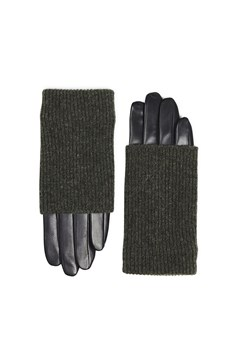 Helly Knit and Leather Gloves GREEN 1