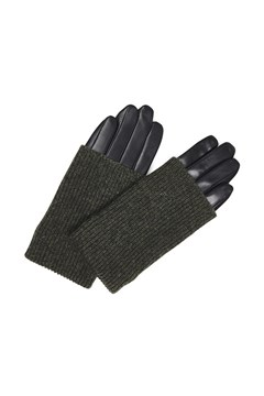 Helly Knit and Leather Gloves - green