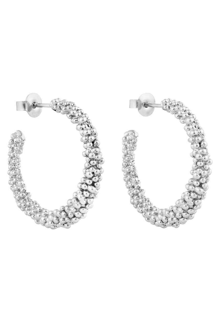 Stardust Large Silver Hoop Earrings