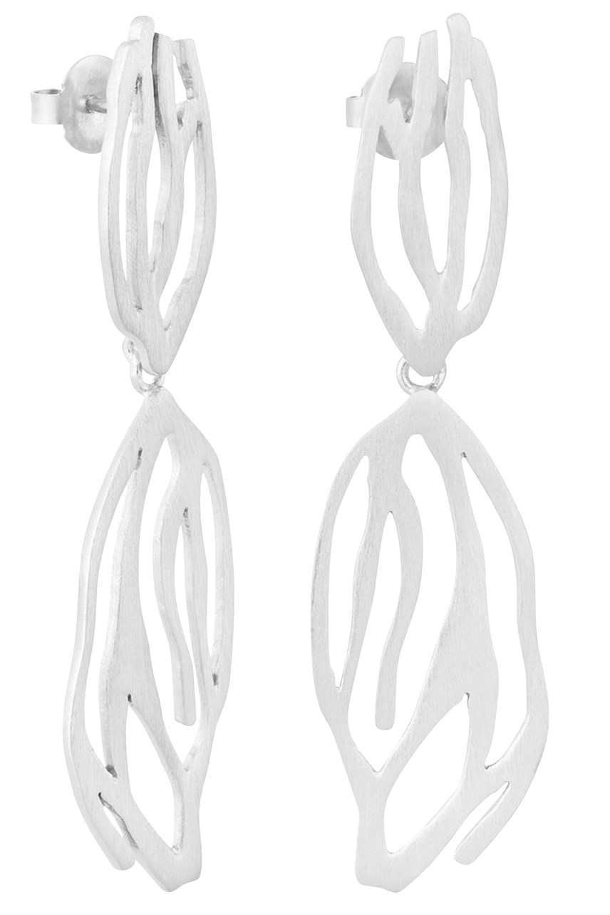 Galera Silver Double Drop Earrings