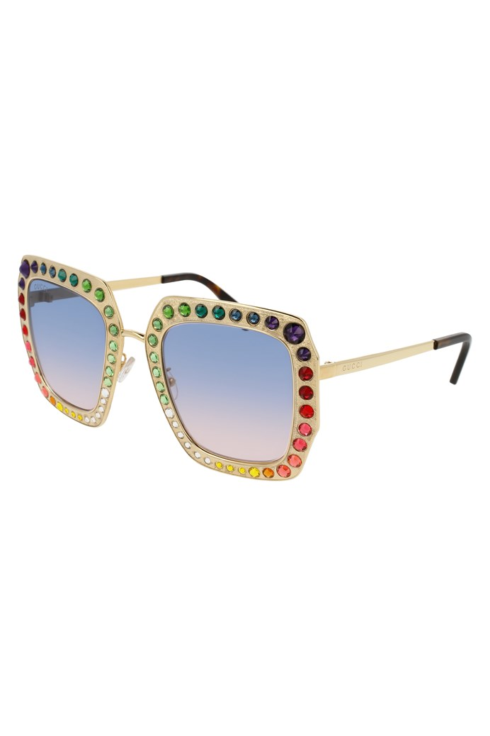 5aa5f14f9c4 Limited Edition Oversize Square-frame Metal Sunglasses - GUCCI ...