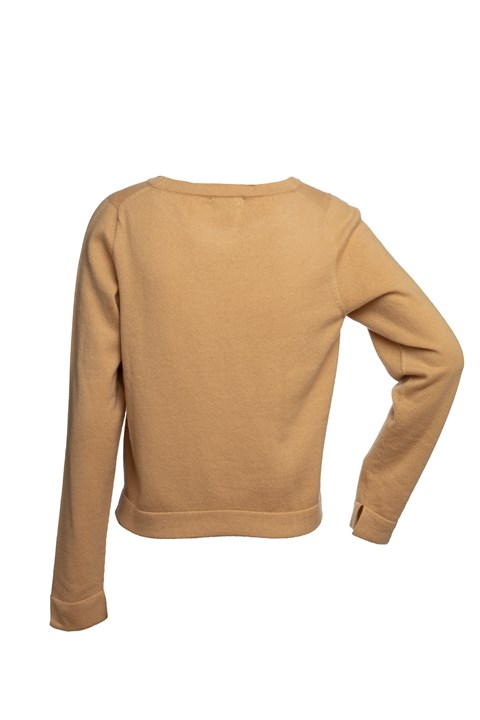 Cropped Line Sweater - camel
