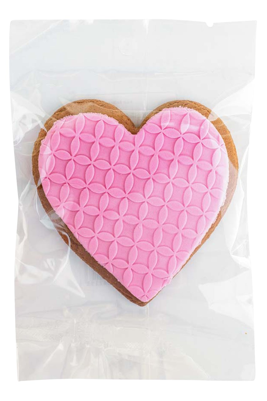 Pink Heart Iced Gingerbread