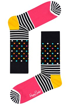 Stripe Dot Sock Peach/Black/Multi 1