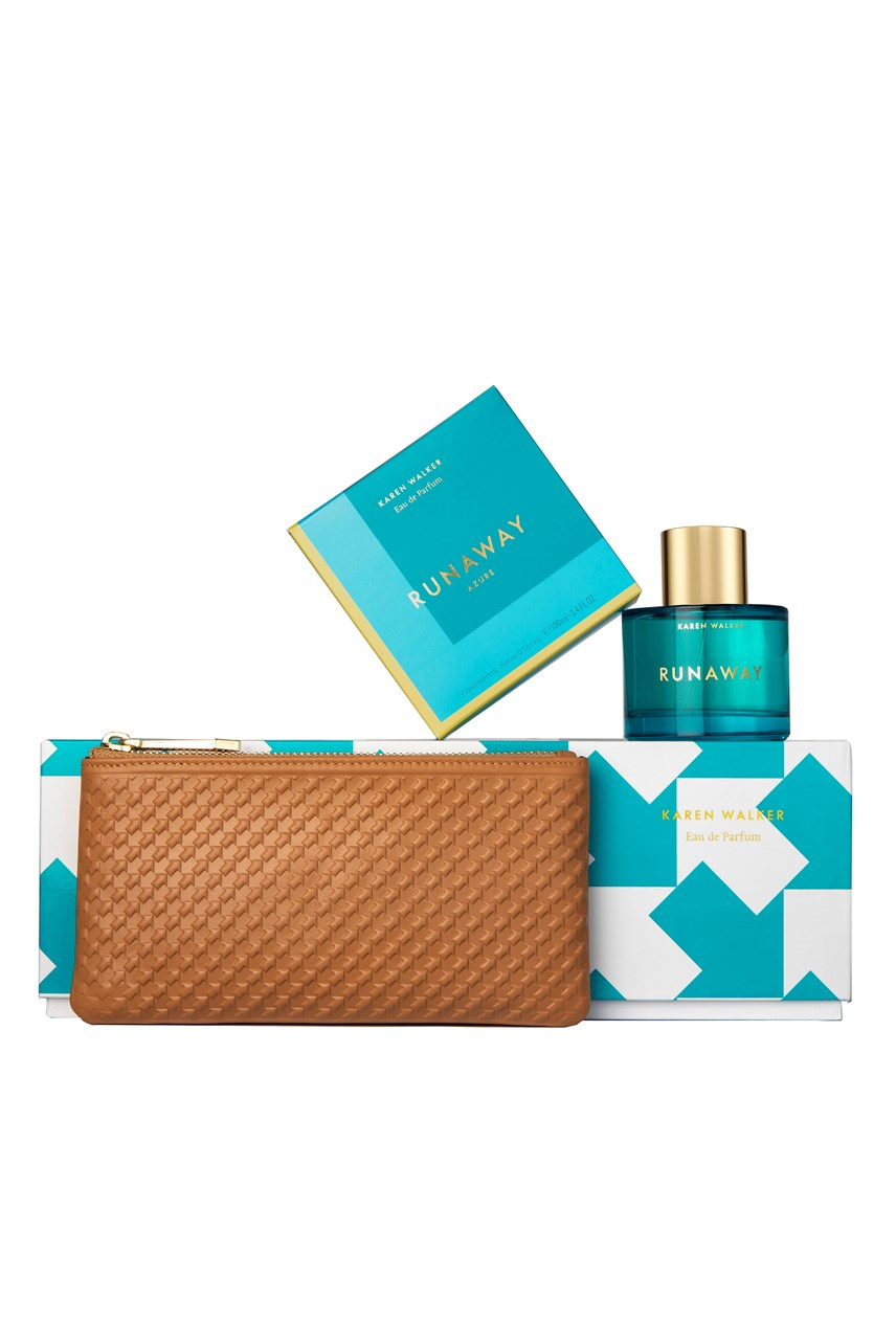 Runaway Azure 100ml Gift Set with Tan Long Purse