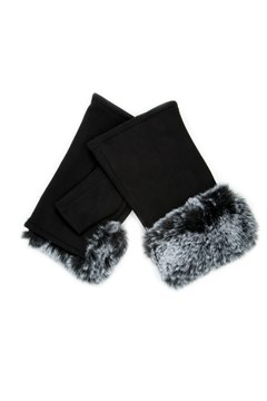 Faux Fur Fingerless Gloves BLACK 1