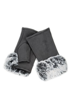 Faux Fur Fingerless Gloves GREY 1