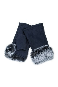 Faux Fur Fingerless Gloves NAVY 1