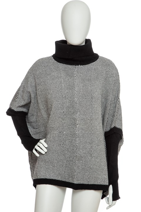 Herringbone Sleeved Poncho - hbone