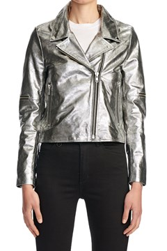 Goats Leather Metallic Moto Jacket SILVER 1