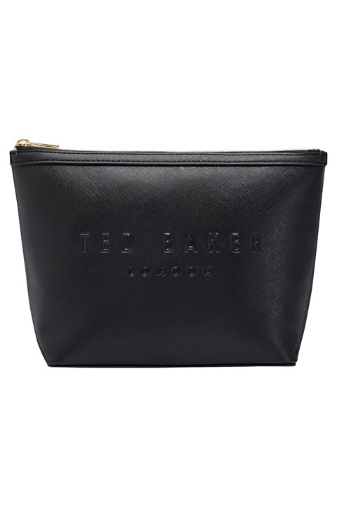 Nance Large Crosshatch Washbag - black