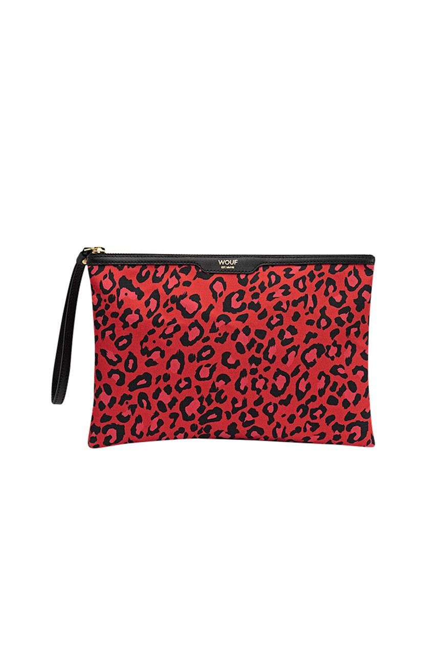 Night Red Leopard Clutch