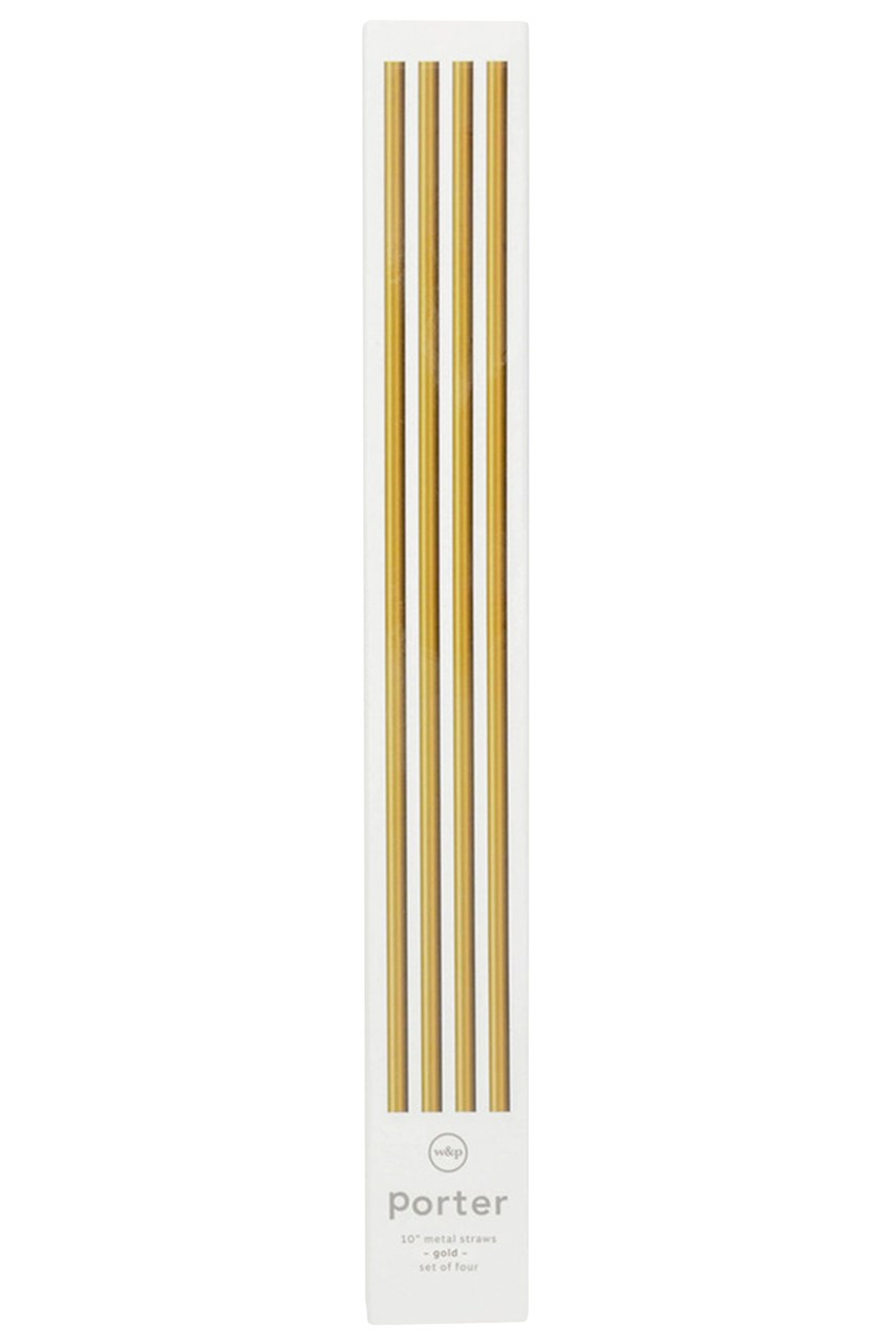 The Porter Metal Straws 10in with Cleaner Set of 4 - Gold