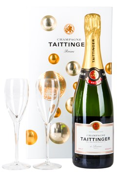 Taittinger Brut Reserve NV Gift Boxed with Two Glasses 1