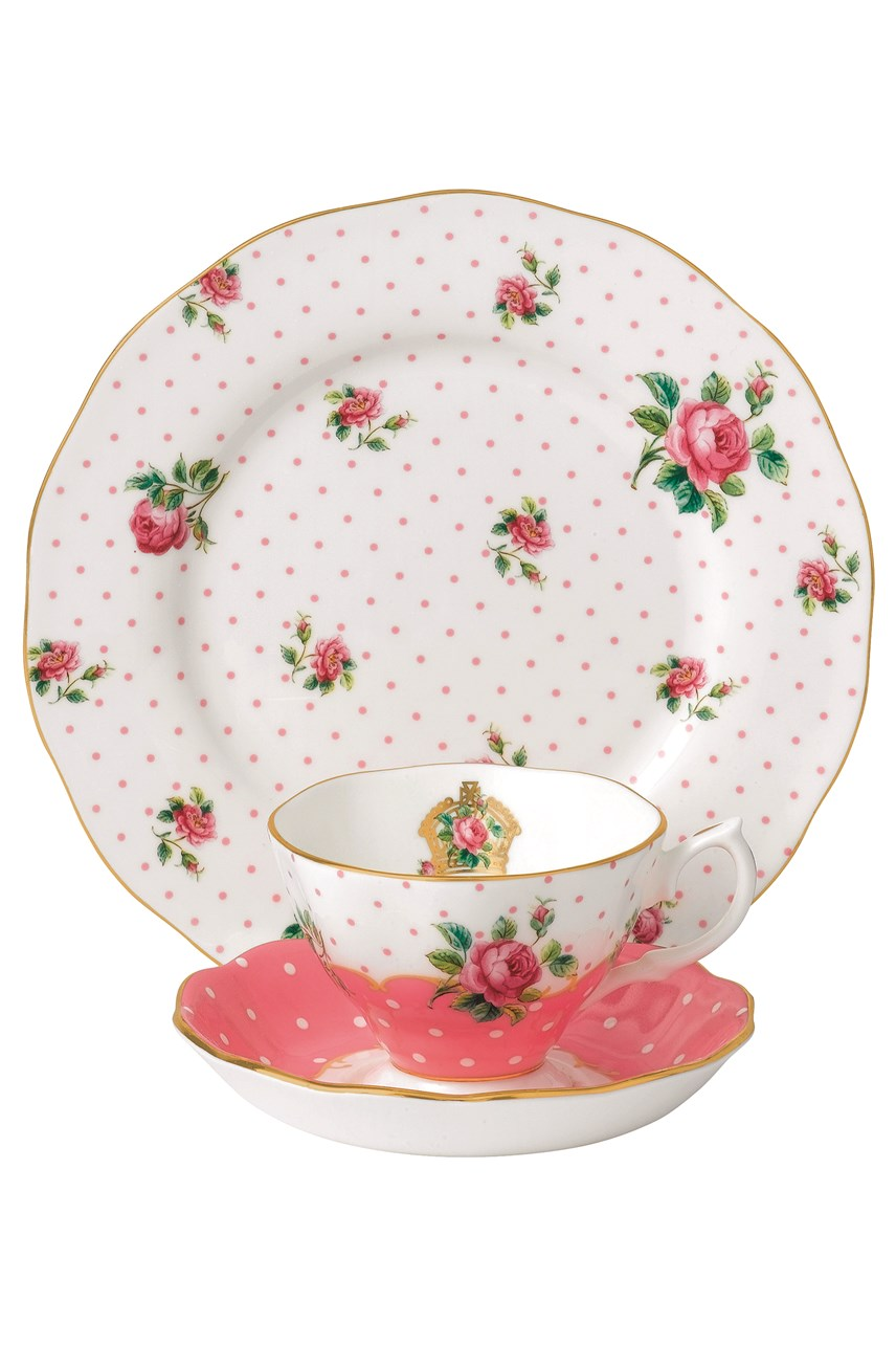 Cheeky Pink Vintage Teacup Saucer & Plate Set