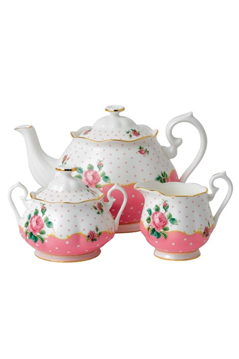 Cheeky Pink Teapot Sugar Creamer Set -
