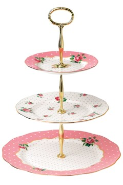 Cheeky Pink Vintage 3-Tier Cake Stand 1