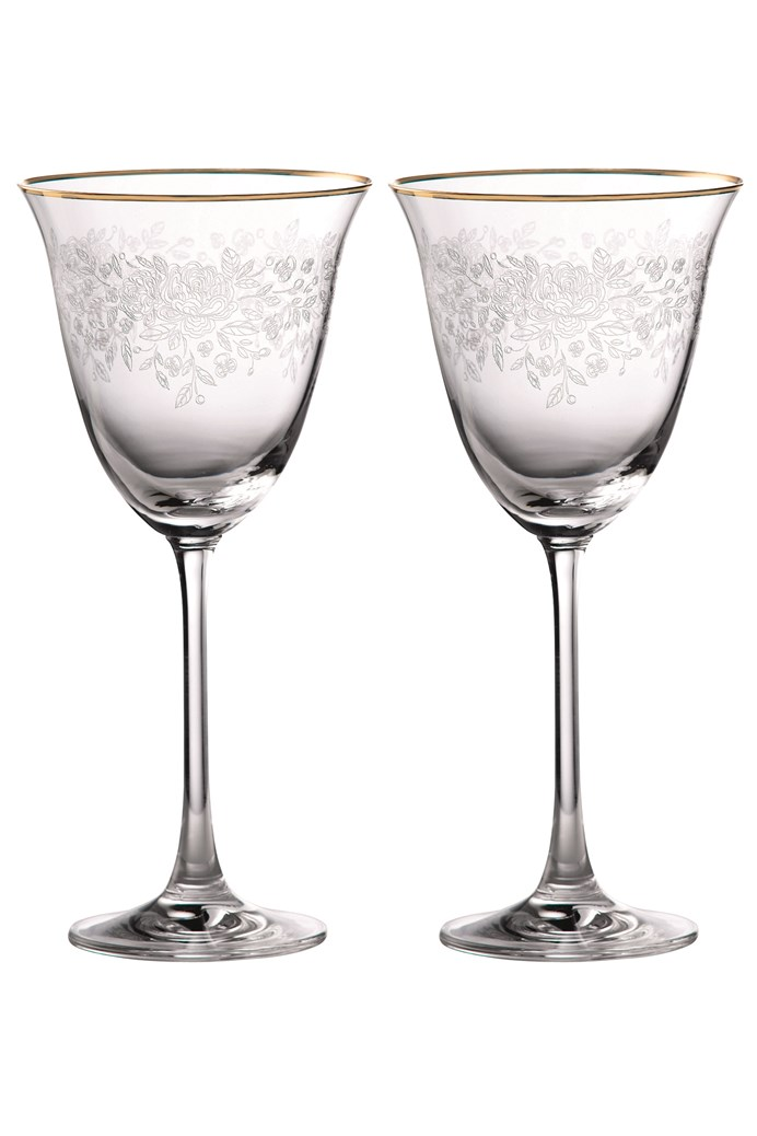 Old Country Roses Gold Rim Wine Pair