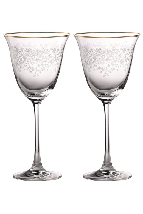 Old Country Roses Gold Rim Wine Pair -