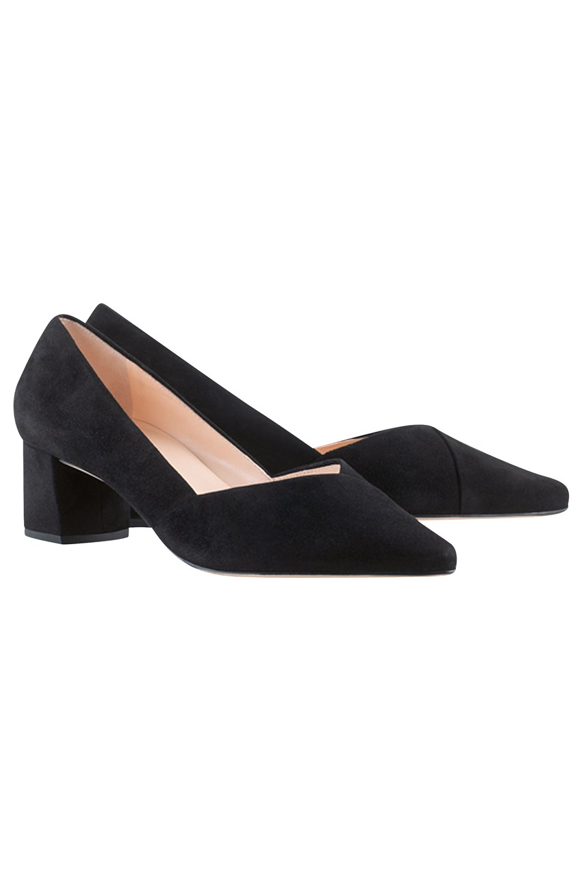 Mid Heel Suede Court Shoe