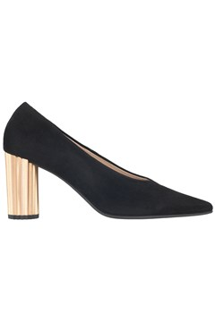Suede Court Heel With Metal Heel BLACK 1