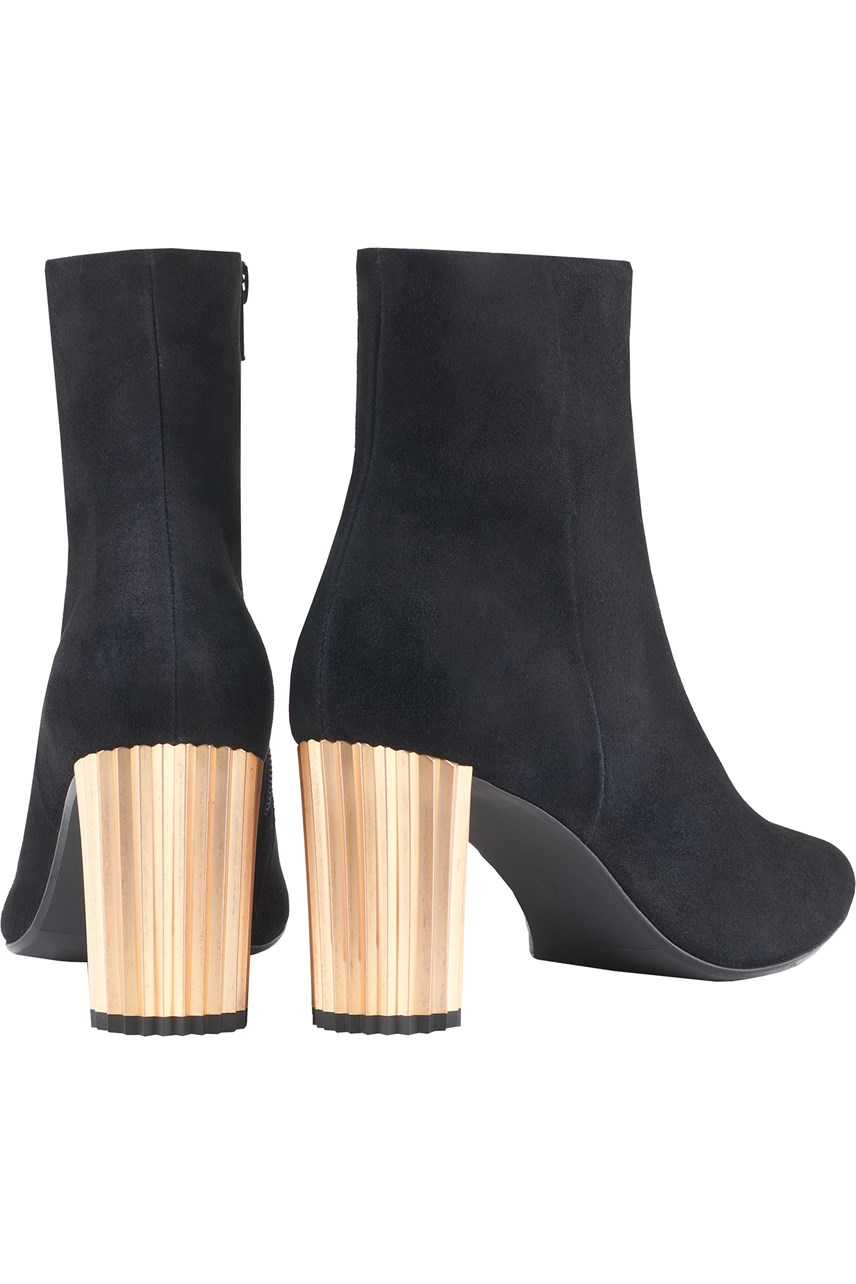 Suede Ankle Boot With Metal Heel