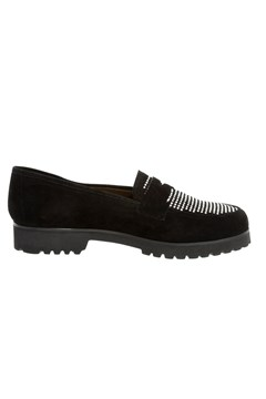 Suede Loafer with Studs NERO 1