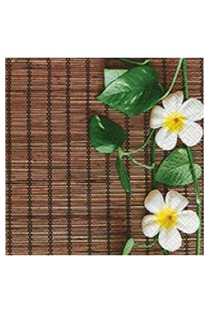 Flowers On Bamboo Mat Luncheon Napkins