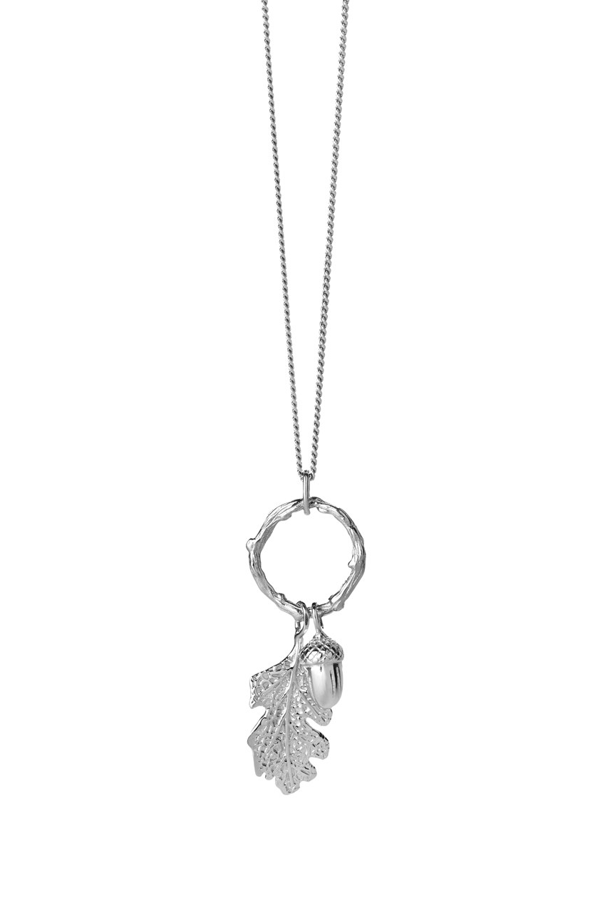 Acorn and Leaf Loop Necklace