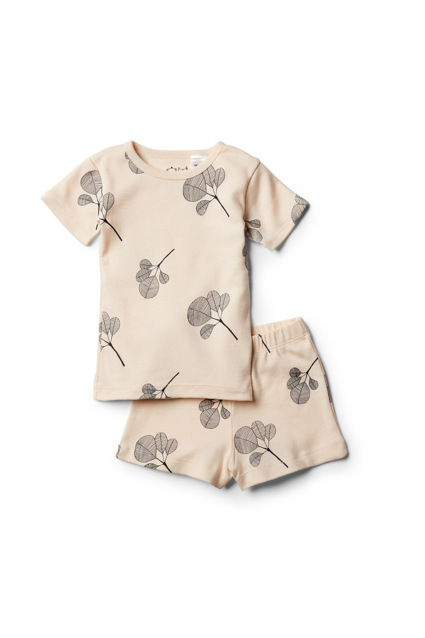 Organic Fan Leaf Short Sleeve Pajama Set