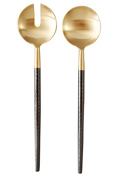 Santo Salad Servers - gold/black