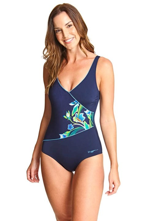 Gladiolus Wrap Front Swimsuit - multi navy