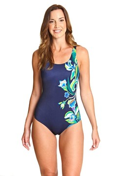 Gladiolus Adjustable Scoopback Swimsuit - multi navy